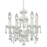 Crystorama Paris Market Collection 4-light Wet White/Murano Crystal Mini Chandelier