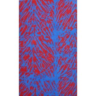 Batik Leaf Orange Polyester Hand-hooked Area Rug (5' x 8')