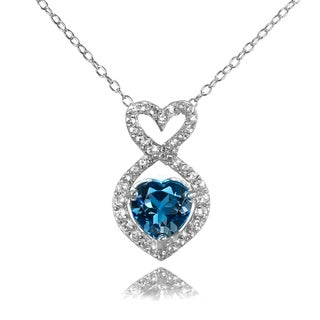 Glitzy Rocks Sterling Silver London Blue and White Topaz Infinity Heart Necklace