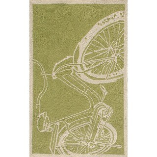 The Rug Market Bicycle Green Hand-hooked Area Rug (3' x 5')