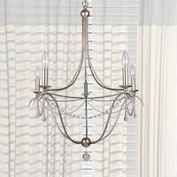 3-light Antique Silver/Murano Crystal Mini Chandelier