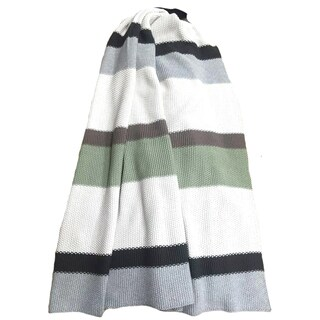 Rayure Collection 100-percent Cotton Green/ White Throw