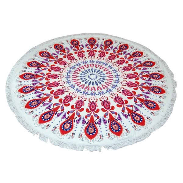Red Mandala 60-inch Round Beach Towel