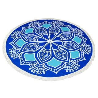 Blue Lotus Pattern 60-inch Round Beach Towel