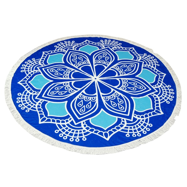 Blue Lotus Pattern 60-inch Round Beach Towel