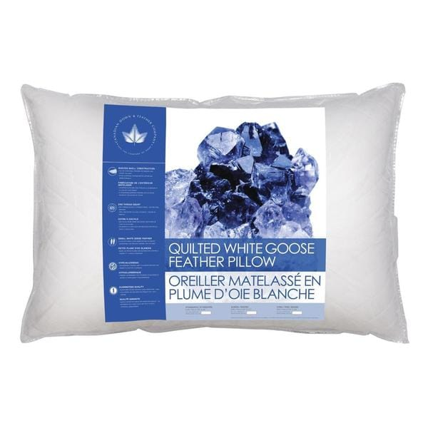 Canadian Down and Feather White Goose Quilted Feather Pillow