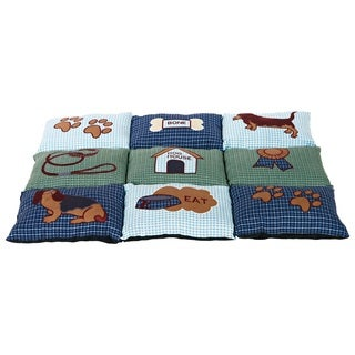 Patchwork Blue/Green Quilted Pet Bed