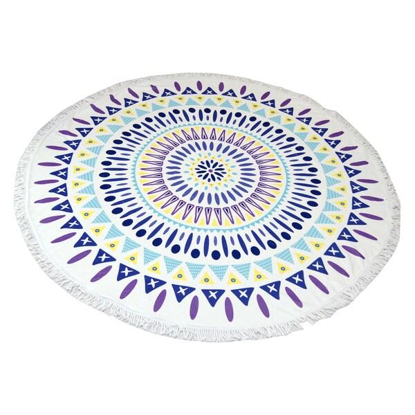 Purple Mandala 60-inch Round Beach Towel