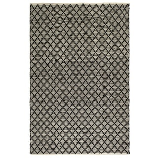 Fab Habitat Recycled Cotton Reclaimed Fibers Flat Weave, Handwoven Floor Mat Area Rug, Ansui Black & Cream 8' X 10' (India)
