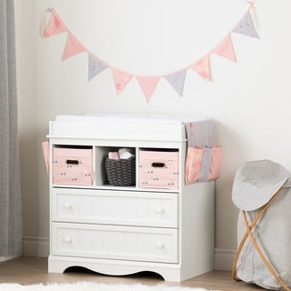 South Shore Savannah Pure White and Pink Changing Table with Doudou the Rabbit Runner and Pennant Banner