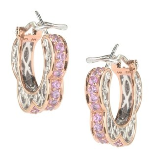 Michael Valitutti Palladium Silver Pink Sapphire Scalloped Hoop Earrings