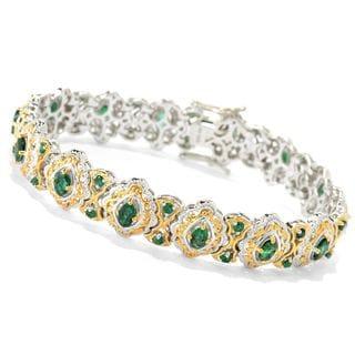 Michael Valitutti Palladium Silver Zambian Emerald Fancy Link Tennis Bracelet