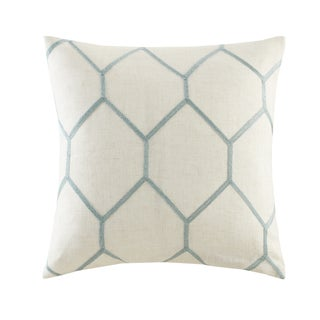 Madison Park Asher Metallic Geo Embroidered Pillow Pair 3 Color Option (Aqua)