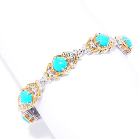 Gems en Vogue Palladium Silver Sleeping Beauty Turquoise Tennis Bracelet