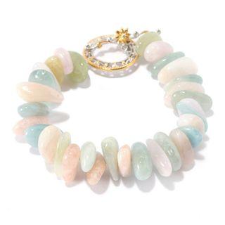Michael Valitutti Palladium Silver Freeform Multi Color Beryl Bead Toggle Bracelet