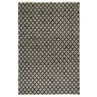 Fab Habitat Recycled Cotton Reclaimed Fibers Flat Weave, Handwoven Floor Mat Area Rug, Ansui  Black & Cream  3' X 5' (India)