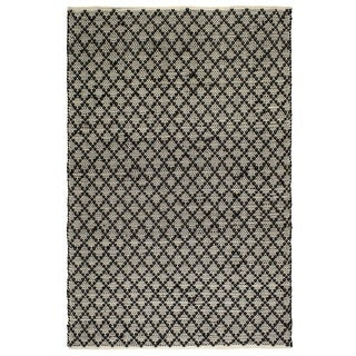 Fab Habitat Recycled Cotton Reclaimed Fibers Flat Weave, Handwoven Floor Mat Area Rug, Ansui Black & Cream 6' X 9' (India)