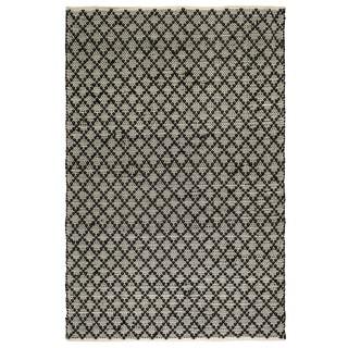 Fab Habitat Recycled Cotton Reclaimed Fibers Flat Weave, Handwoven Floor Mat Area Rug, Ansui  Black & Cream  6' X 9' (India)