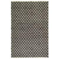 Handmade Fab Habitat Recycled Cotton Reclaimed Fibers Flat Weave, Floor Mat Area Rug, Ansui Black & Cream - 5' x 8' (India)