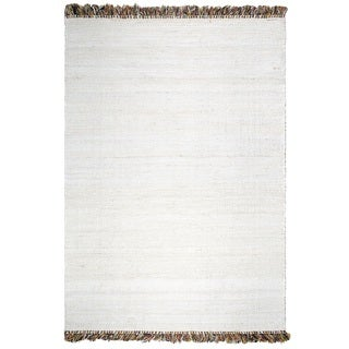 Fab Habitat Sustainable Jute & Cotton Area Rug Ecofriendly Natural Fibers, Handwoven Saguaro, Bleached 6' X 9' (India)