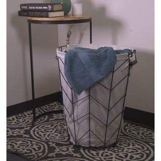 3pc Tapered Round Metal Herringbone Hamper with Fabric Liner