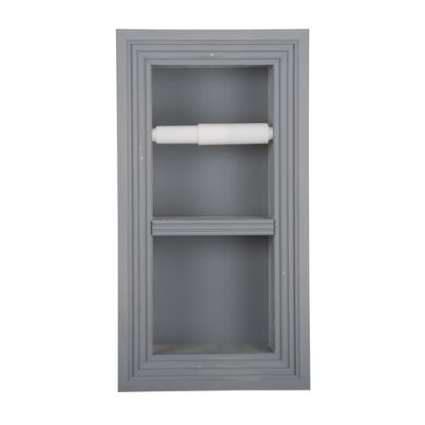 Solid Wood Recessed in wall Bathroom Double Toilet Paper Holder-Multiple Finishes