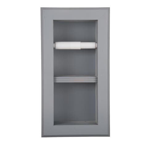 Solid Wood Recessed in wall Bathroom Bevel Frame Double Toilet Paper Holder-Multiple Finishes