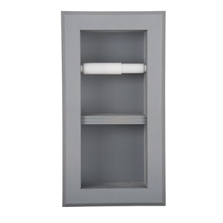Solid Wood Recessed in wall Bathroom Bevel Frame Double Toilet Paper Holder-Multiple Finishes (3 options available)