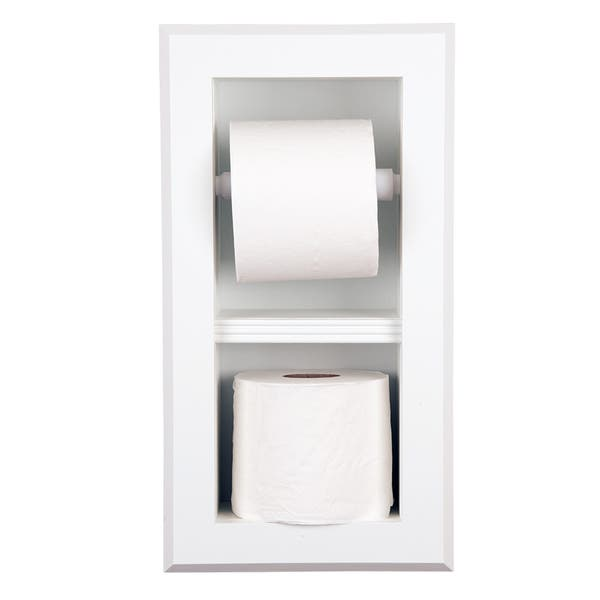 Solid Wood Recessed In Wall Bathroom Bevel Frame Double Toilet Paper Holder Multiple Finishes Overstock 16341075
