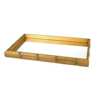 Woodart Beige Bamboo Style Tray With Mirror
