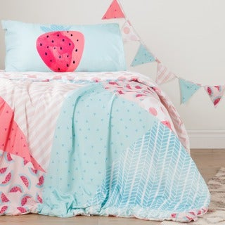 South Shore DreamIt Pink and Turquoise Watermelons and Dots Reversible Twin 3-piece Comforter Set