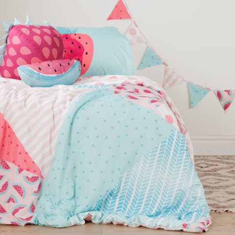 DreamIt Pink and Turquoise Watermelons and Dots Twin 5-piece Comforter Set
