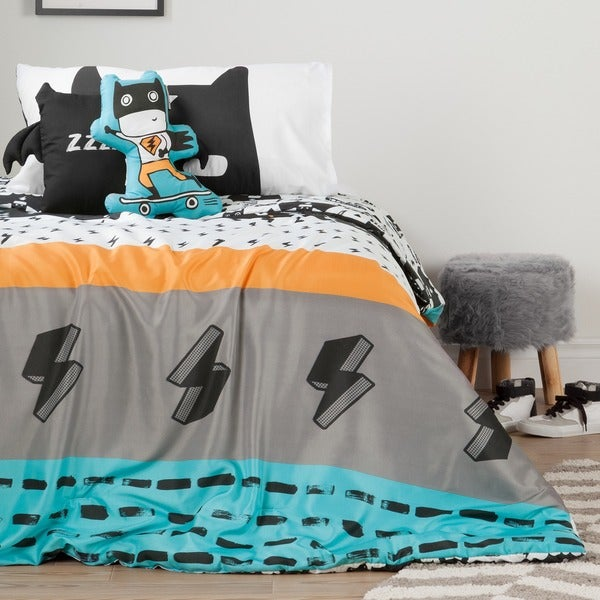 South Shore DreamIt Black and White Superheroes Twin 4-piece Comforter Set