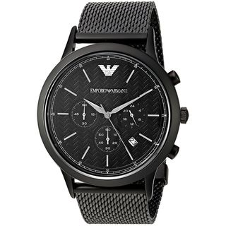 Emporio Armani Men's AR2498 'Dress' Chronograph Black Stainless Steel Watch