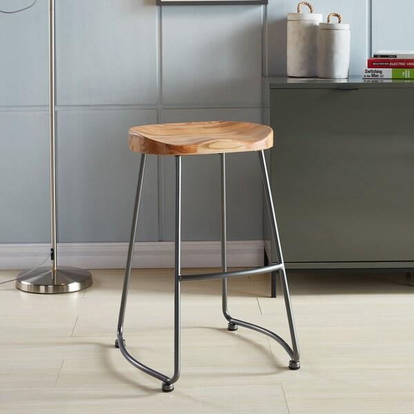 Moka Solid Wood and Metal Counter Stool (Set of 2)