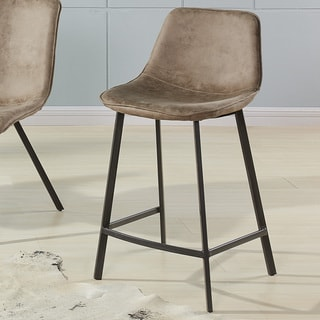 Link to Buren Faux-suede and Metal Counter Stools (Set of 2) Similar Items in Dining Room & Bar Furniture