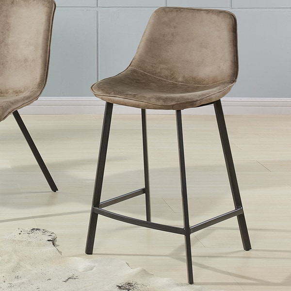 Buren Faux-suede and Metal Counter Stools (Set of 2)