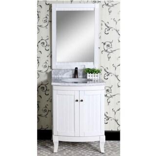 Infurniture Country-style White Wood and Black Granite Marble Top 27-inch Single-sink Bathroom Vanity