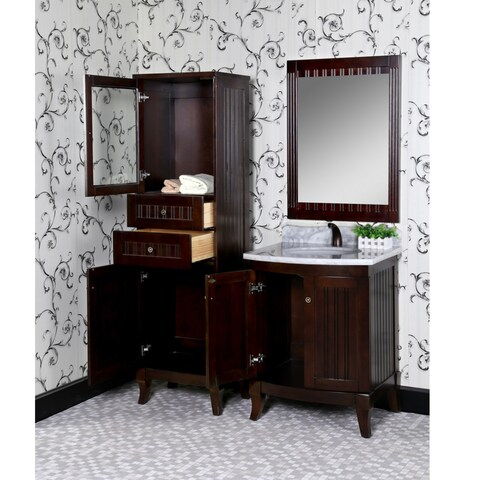 Infurniture Country-style Bellagio Brown Wood 27-inch Beige Marble Top Single-sink Bathroom Vanity