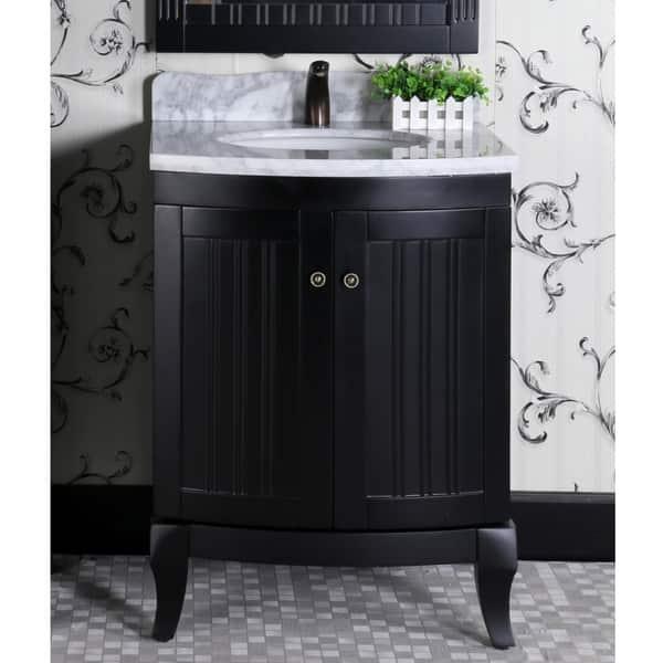 Infurniture Country Style Black Wood 27 Inch Carrara White Marble Top Single Sink Bathroom Vanity Overstock 16341672