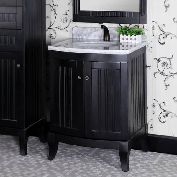 Infurniture Country Style Black Wood 27 Inch Carrara White Marble Top Single Sink Bathroom Vanity