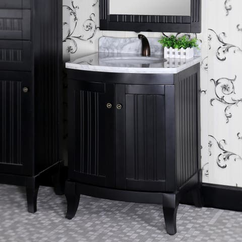 Infurniture Country-style Black Wood 27-inch Carrara White Marble Top Single-sink Bathroom Vanity