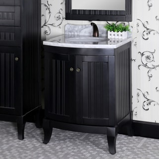 Infurniture Country-style Black Wood 27-inch Carrara White Marble Top Single-sink Bathroom Vanity