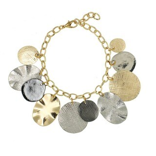 Two-Tone Hammered Disc Bracelet