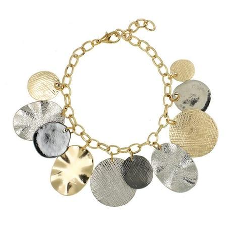Two-Tone Hammered Disc Bracelet