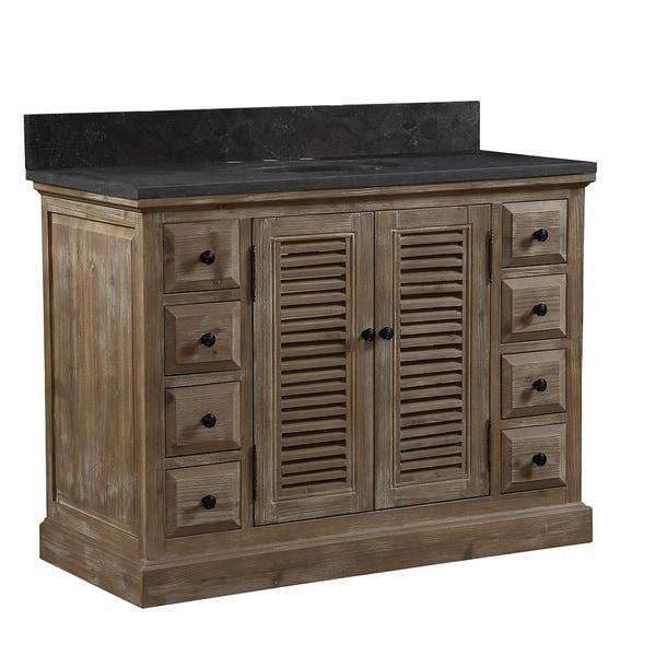 Shop Infurniture Rustic Style Distressed Wood 48 Inch Single Sink Bathroom Vanity With Dark