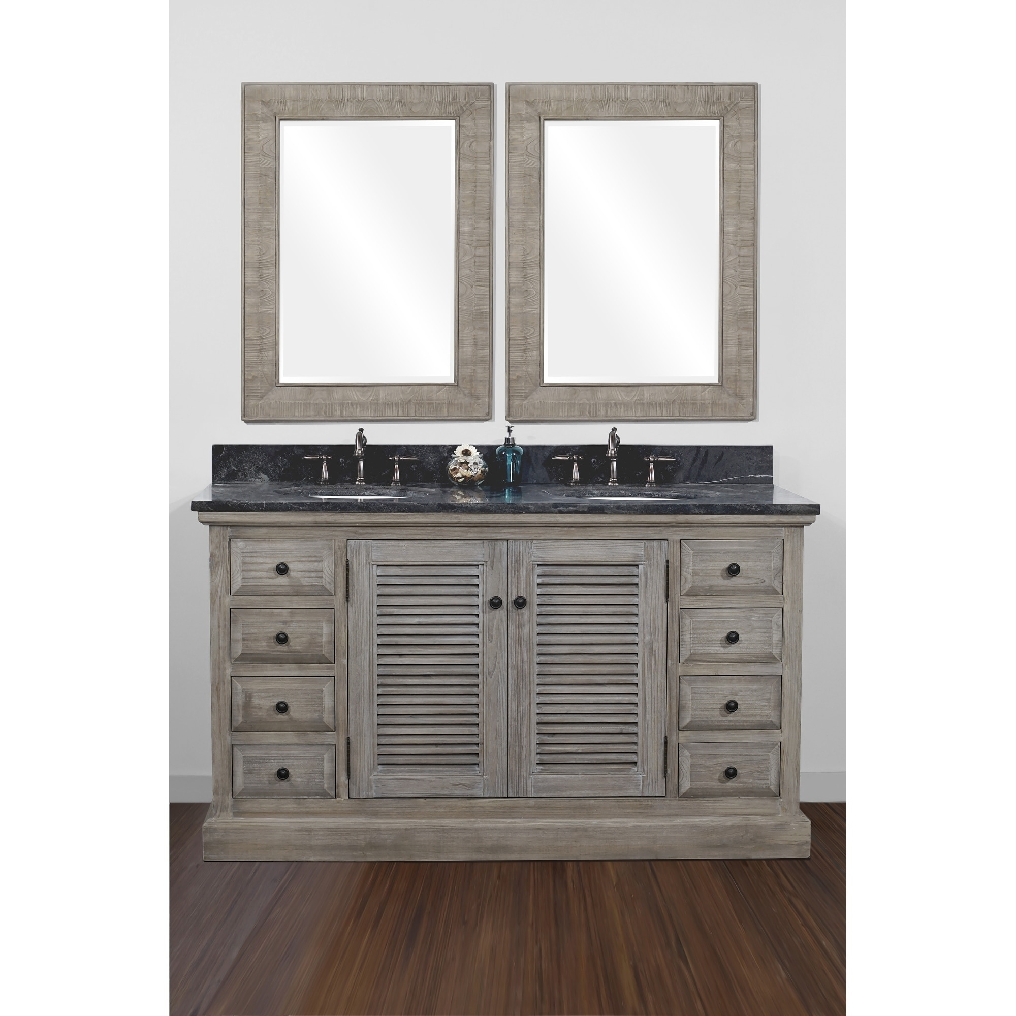 Infurniture Dark Brown Finish Wood 60-inch Double Sink Ba...