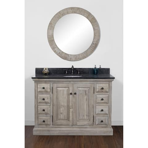Rustic Style Dark Limestone 48-inch Single-sink Bathroom Vanity