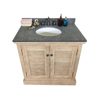 Rustic Style Dark Limestone 36-inch Single-sink Bathroom Vanity