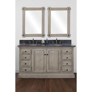 Infurniture Rustic Style Driftwood 60 Inch Double Sink Bathroom Vanity With Dark Limestone
